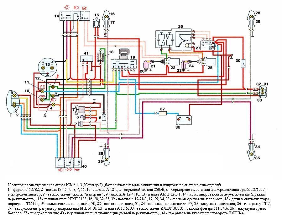 Схема проводки ИЖ Юпитер 3