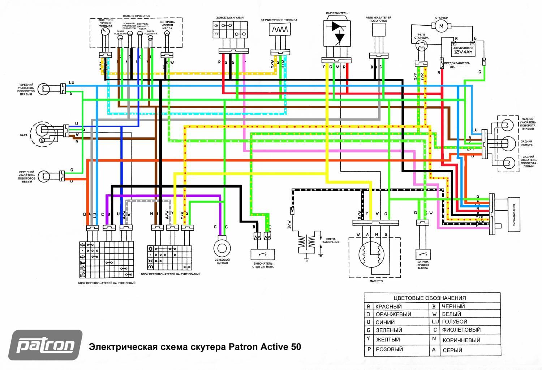 Электросхема скутера Vento Phantom
