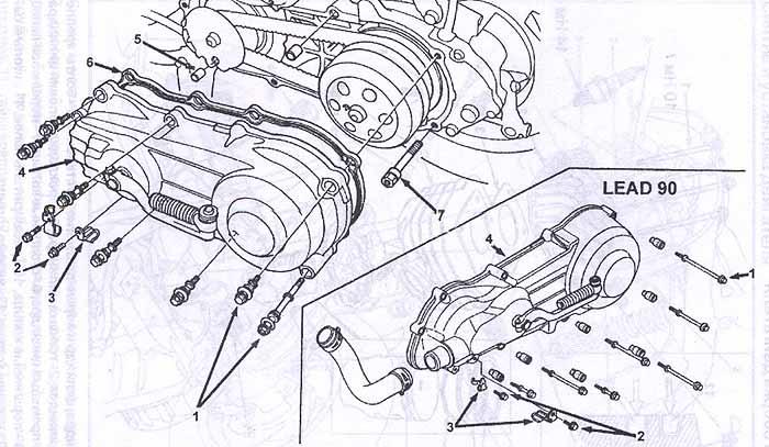 Разборка, проверка и замена сцепления скутера Honda Lead AF-20