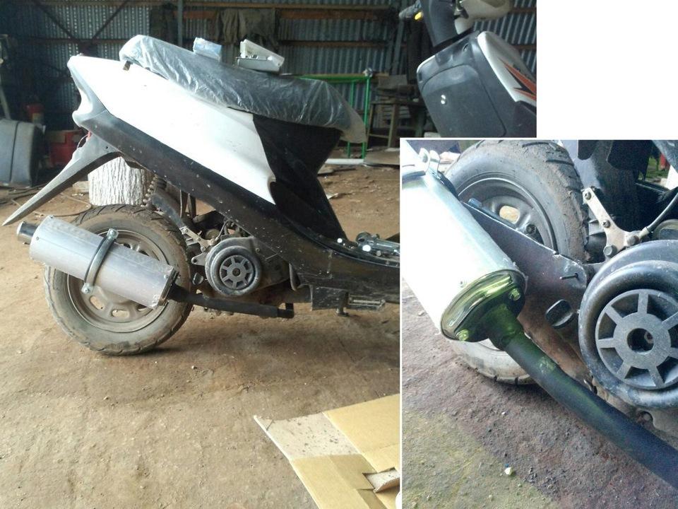 Забитый глушитель на скутере