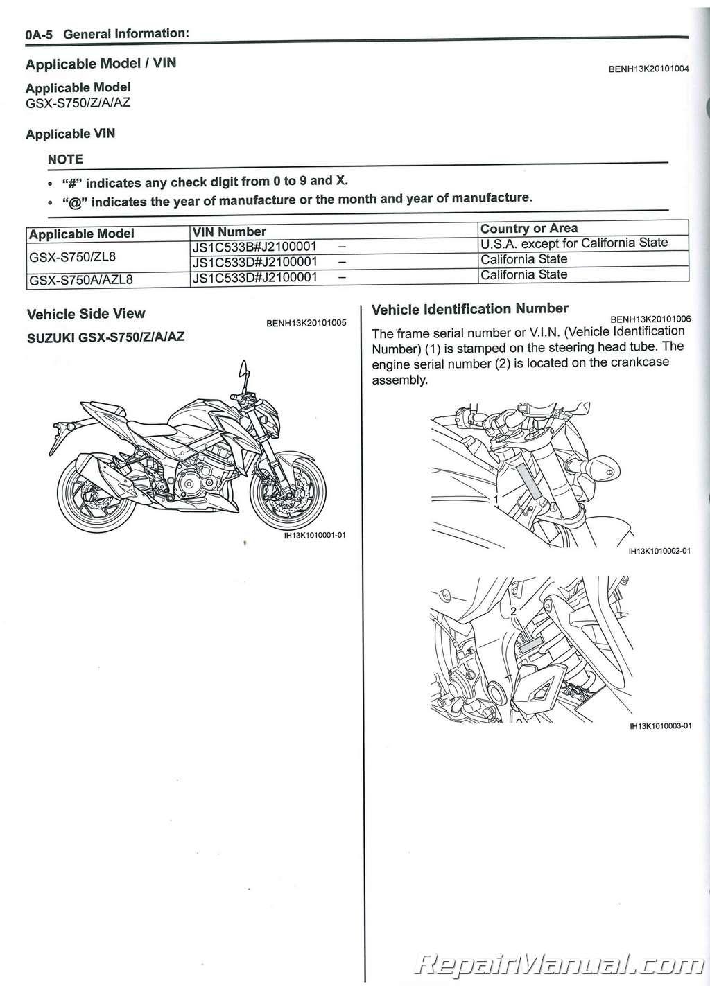 Мануалы и документация для Suzuki GSR 750 (GSX-S750)