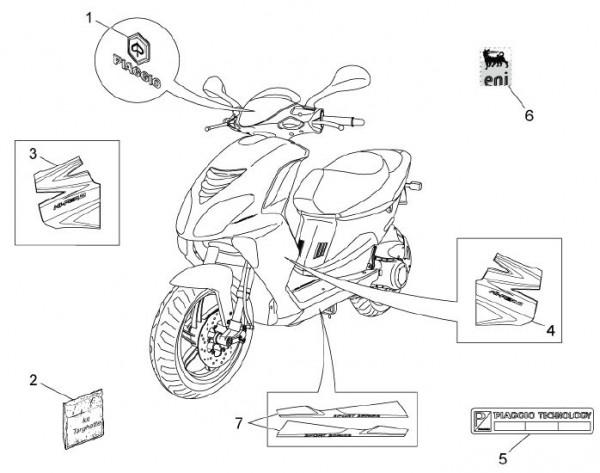 Схема электрическая скутера Piaggio ZIP